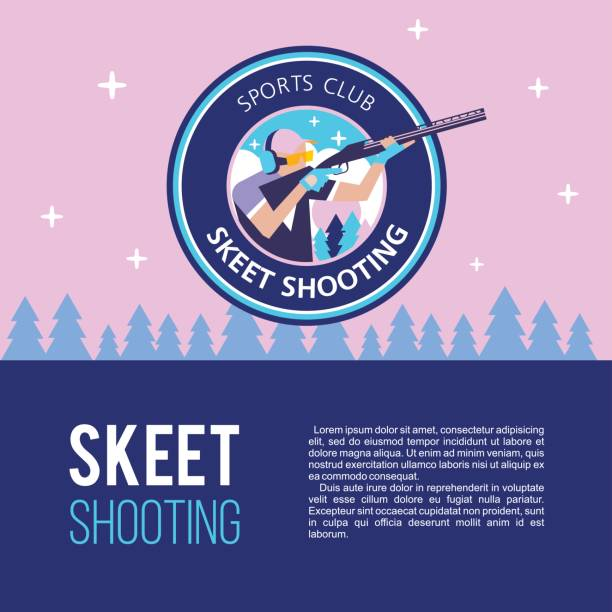 Skeet shooter. A professional sport. Vector icon. Banner with place for text. vector art illustration
