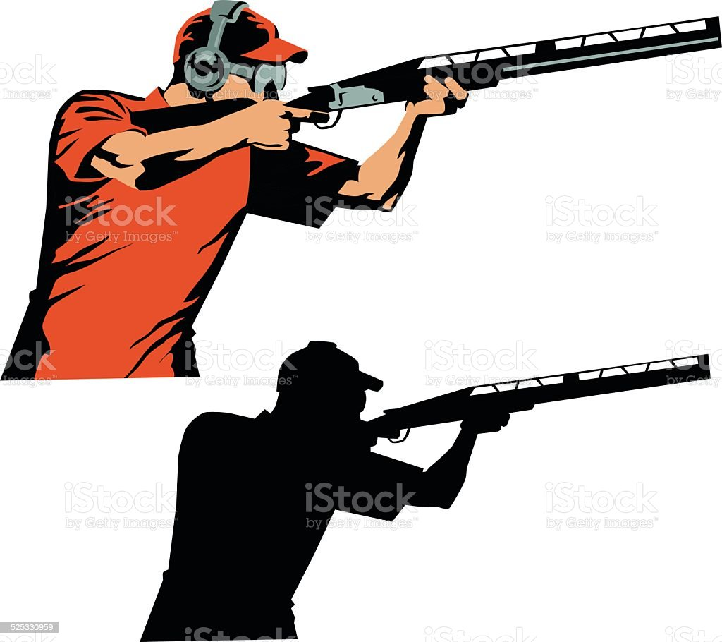 Skeet Shooter Colored Drawing and Silhouette vector art illustration