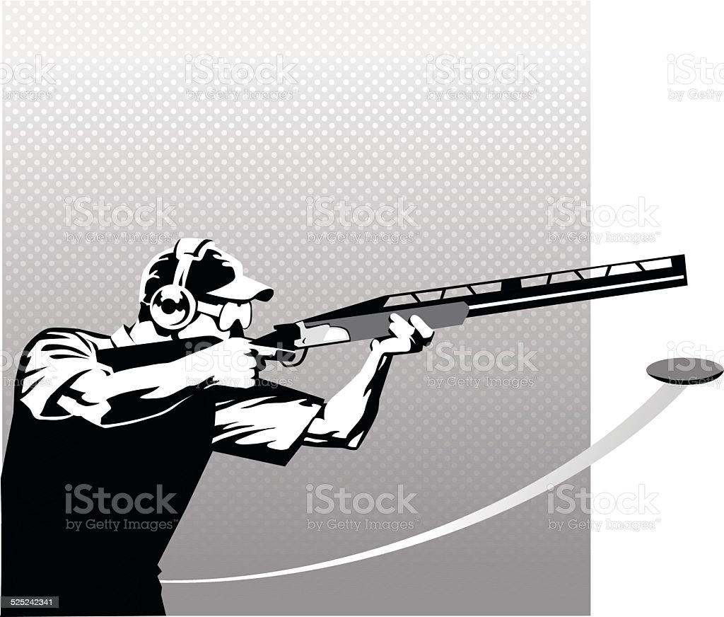 Tir au Skeet en noir et blanc - Illustration vectorielle