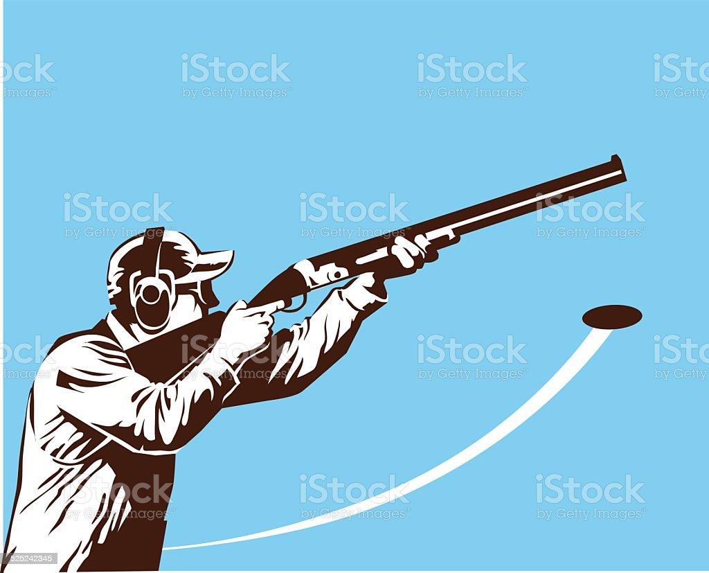 Skeet Shooter in Black and White vector art illustration