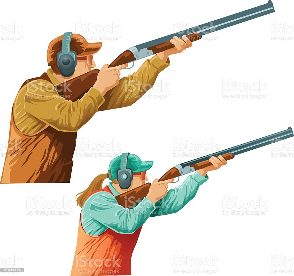 Skeet  Shooters Competitors Male and Female vector art illustration