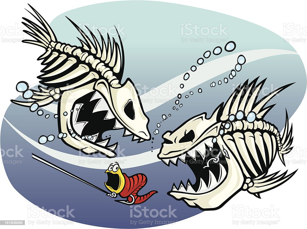 Skelefish vector art illustration