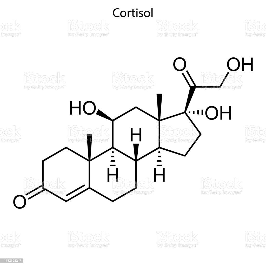Ilustración De Fórmula Esquelética Molécula Esteroide Y Más