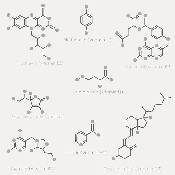 Skeletal formulas of vitamins Skeletal formulas of some vitamins. Schematic image of chemical organic molecules, nutrients. molecular structure stock illustrations