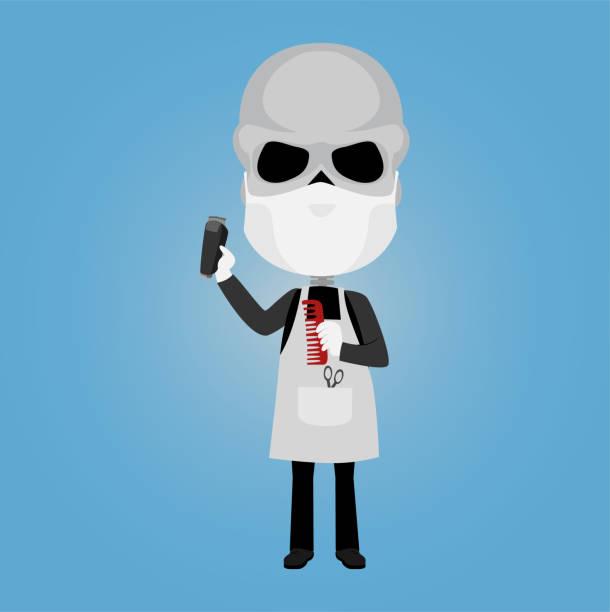 skelett friseur friseur mit virus maske weiße handschuhe elektrische rasierer schere kommen und schürze - friseur lockdown stock-grafiken, -clipart, -cartoons und -symbole