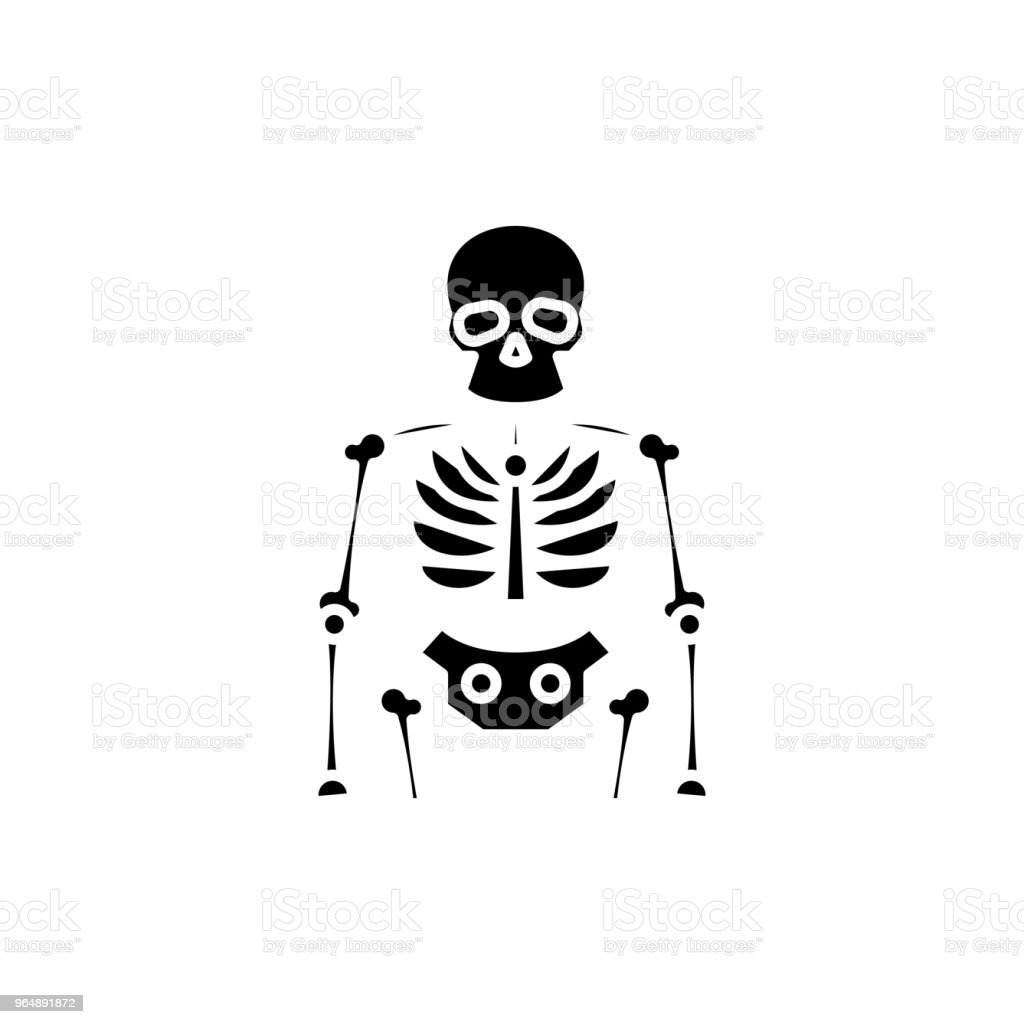 Skeleton black icon concept. Skeleton flat  vector symbol, sign, illustration. royalty-free skeleton black icon concept skeleton flat vector symbol sign illustration stock vector art & more images of anatomy