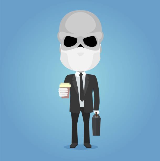 bildbanksillustrationer, clip art samt tecknat material och ikoner med skelett affärsman som håller en kaffekopp och en resväska med antivirusmask och vita handskar - coffe with death