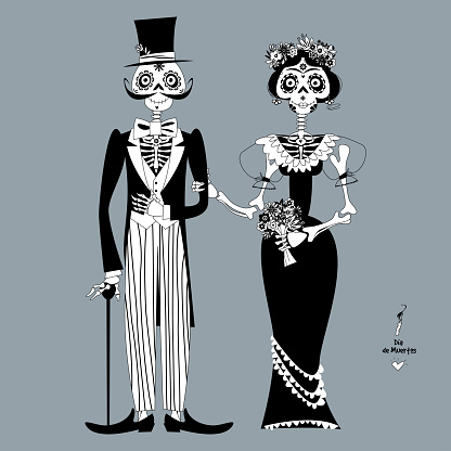 Skeleton couple in love. Dia de Muertos. Mexican tradition. Black and white.