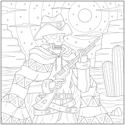 Skeleton cowboy hunter in the western land illustration. Learning and education coloring page illustration for adults and children. Outline style, black and white drawing