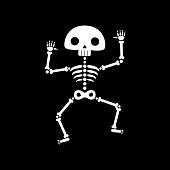 Skeleton dance. Funny dancing cartoon skeleton vector illustration