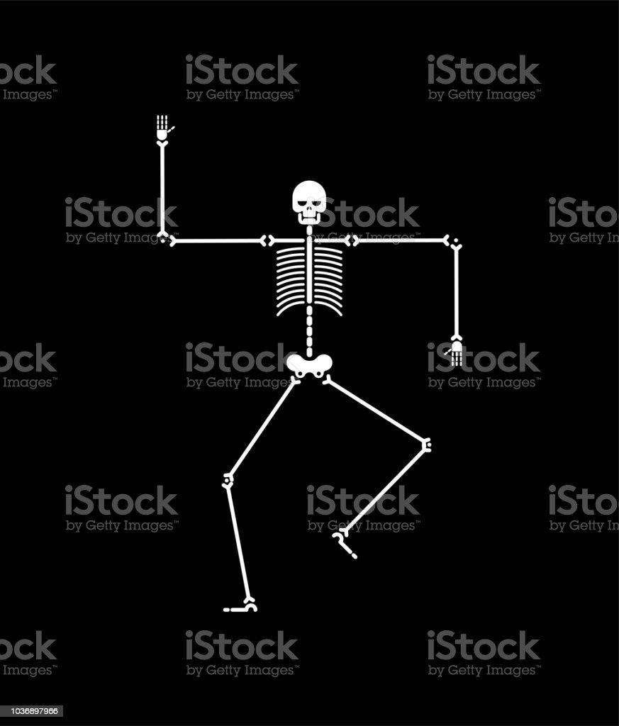 Skeleton Dance Isoliert Schädel Und Knochen Tänze Vektorillustration ...