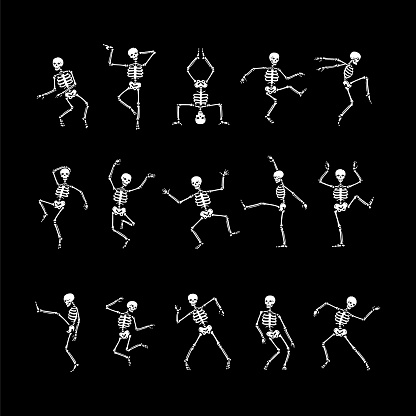 Skeleton dance vector set