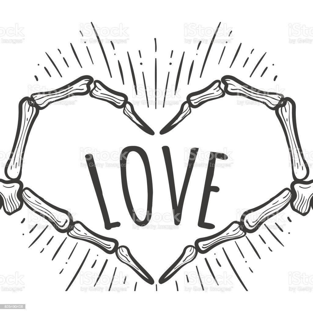 Ilustración de Mano Esqueleto Amor Signo En Blanco y más banco de ...
