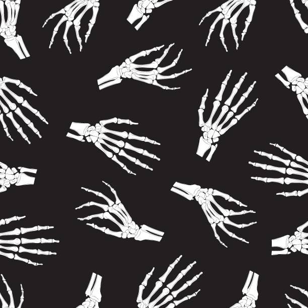 bildbanksillustrationer, clip art samt tecknat material och ikoner med skelett hand sömlösa mönster på svart bakgrund. halloween ben mönster bakgrund. vektor illustration - människoarm