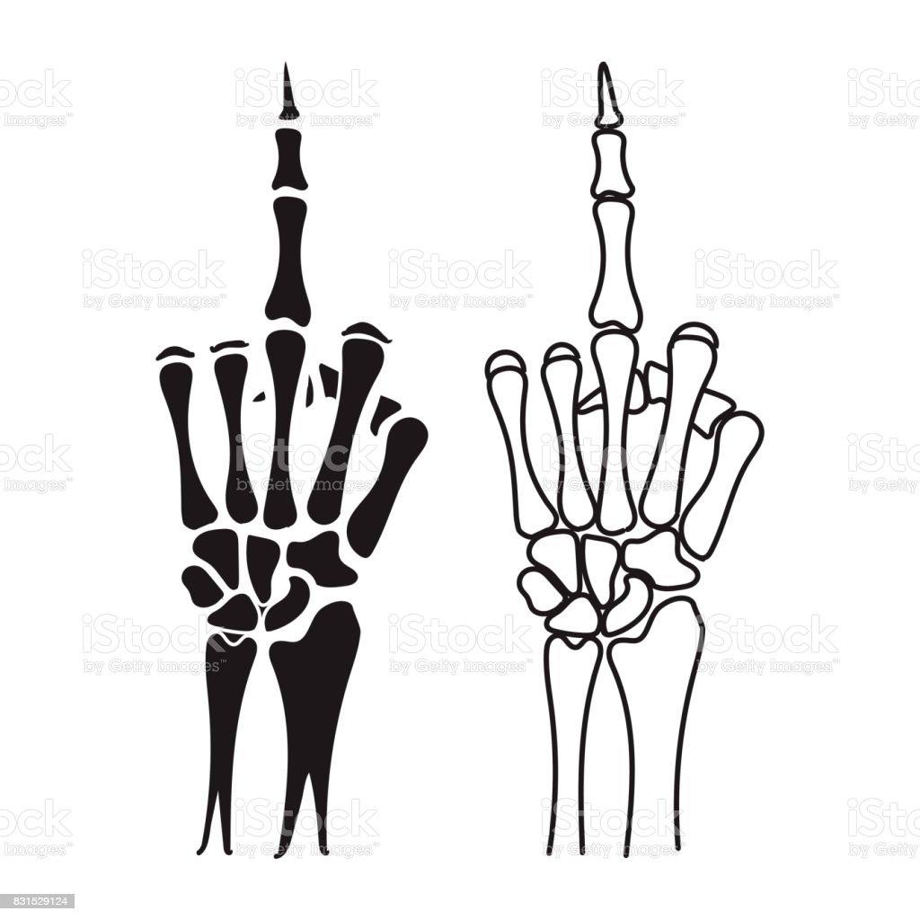 Ilustración de Mano Esqueleto Muestra El Dedo Medio y más banco de ...