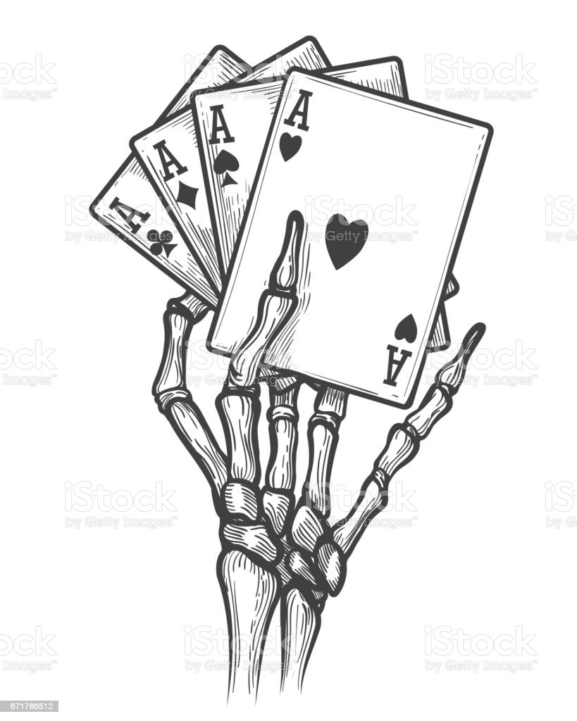 Skeleton hand with four aces