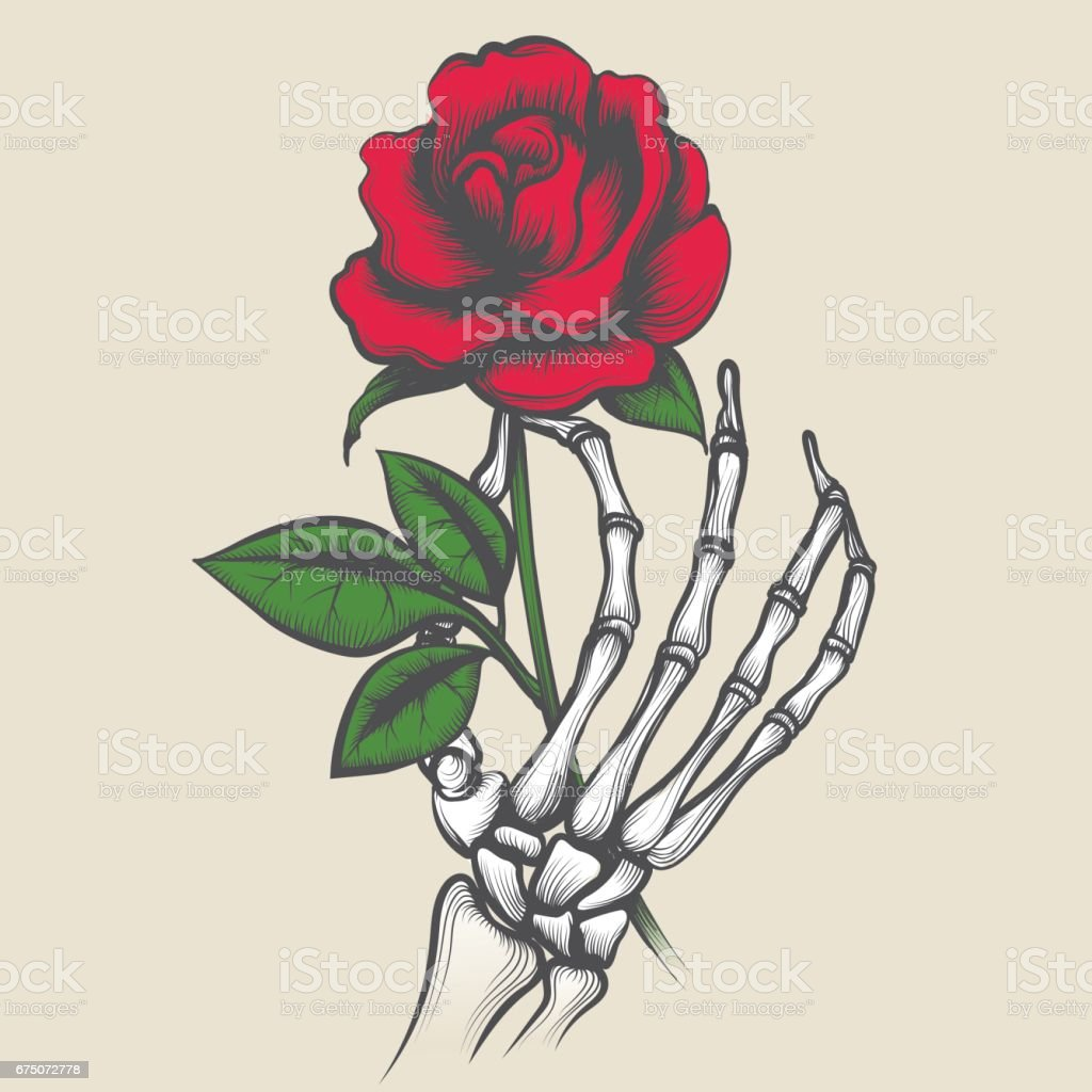 Skeleton Hand With Rose Tattoo Style Stock Vector Art & More Images ...