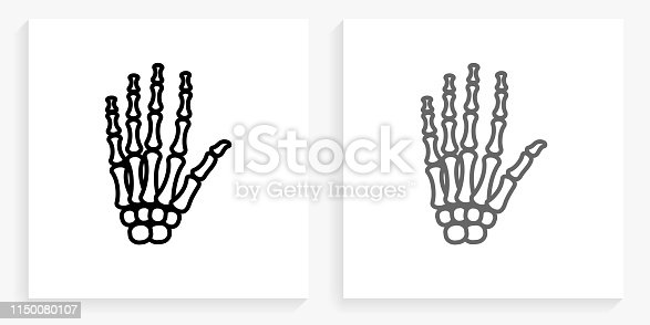 Skeleton Hands Black and White Square Icon. This 100% royalty free vector illustration is featuring the square button with a drop shadow and the main icon is depicted in black and in grey for a roll-over effect.