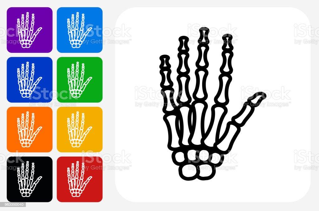 Ilustración de Manos De Esqueleto Icono Cuadrado Botón Set y más ...
