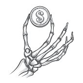 Skeleton hands with dollar coin