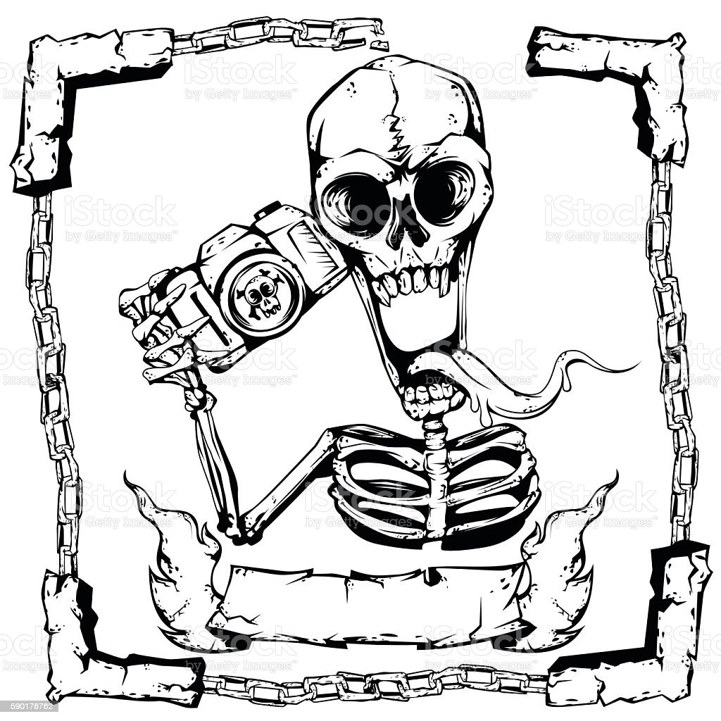 Skeleton Hold Camera Stock Vector Art & More Images of Anatomy ...