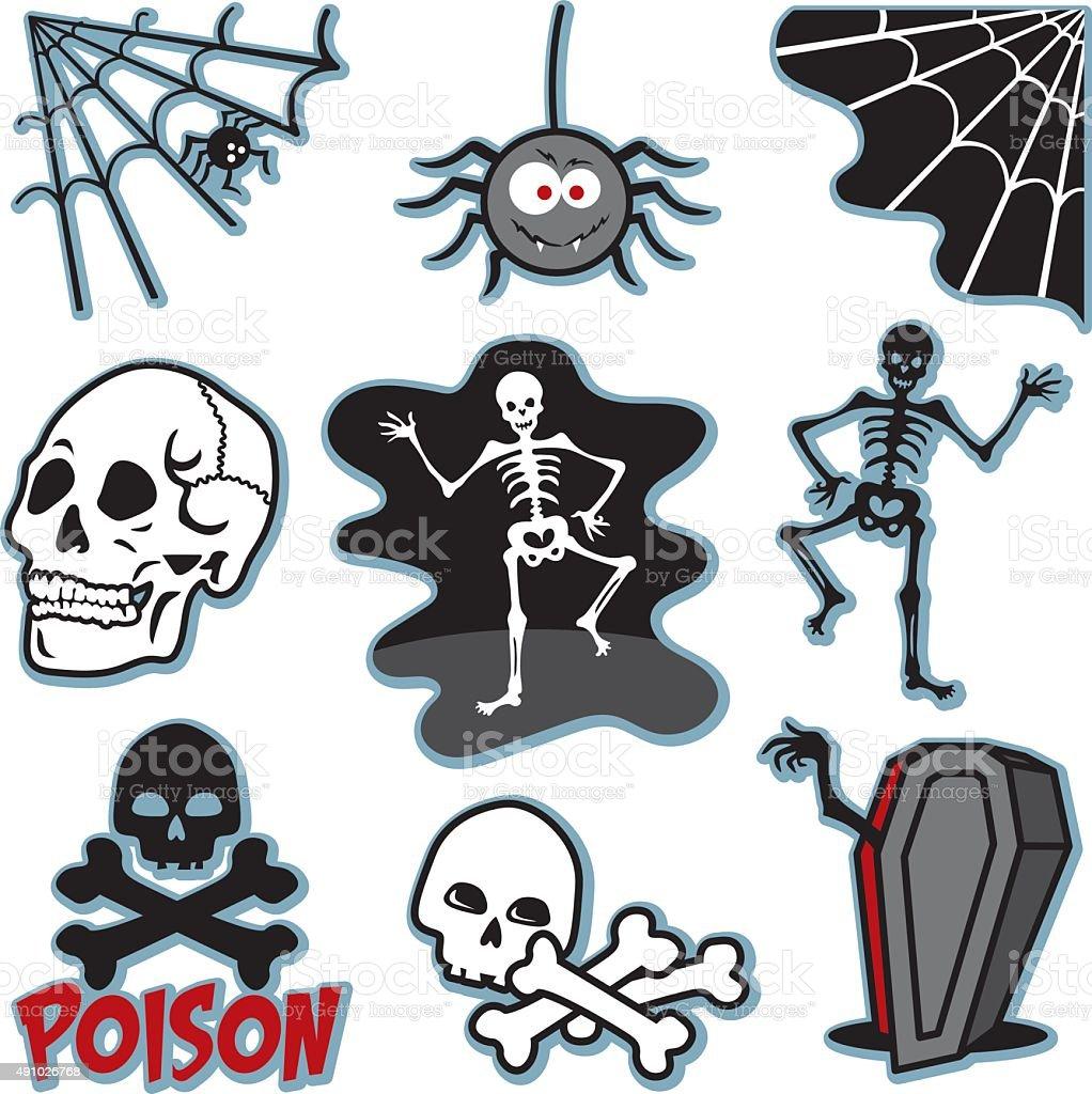 Skeleton illustration icon image set vector art illustration
