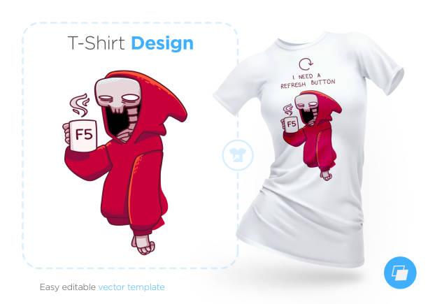 bildbanksillustrationer, clip art samt tecknat material och ikoner med skelett i en hoodie med en kopp kaffe t-shirt design. skriv ut för kläder, affischer eller souvenirer - coffe with death