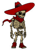 Vector handcrafted illustration of cute skeleton in sombrero and scarf. Good for posters, labels, stickers, emblems, t-shirts.