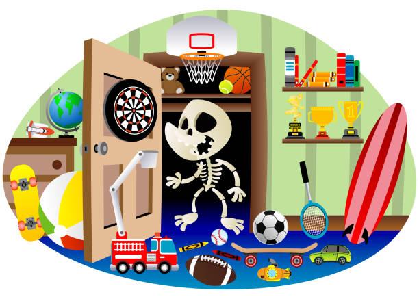 Skeleton in the  closet vector art illustration