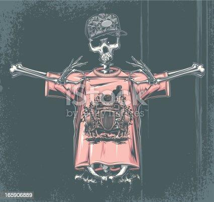 skeleton in t-shirt