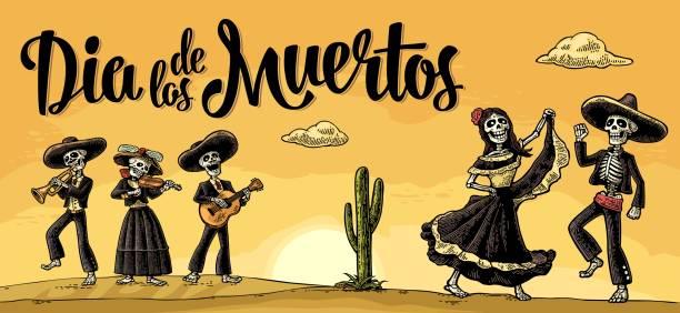 skelette mexikanischen kostümen tanzen und gitarre, geige, trompete zu spielen. - landschaftstattoo stock-grafiken, -clipart, -cartoons und -symbole