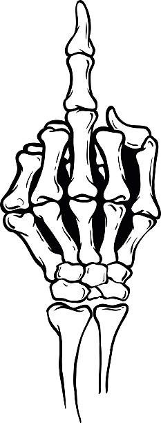 stockillustraties, clipart, cartoons en iconen met skeleton middle finger vector illustration - swearing