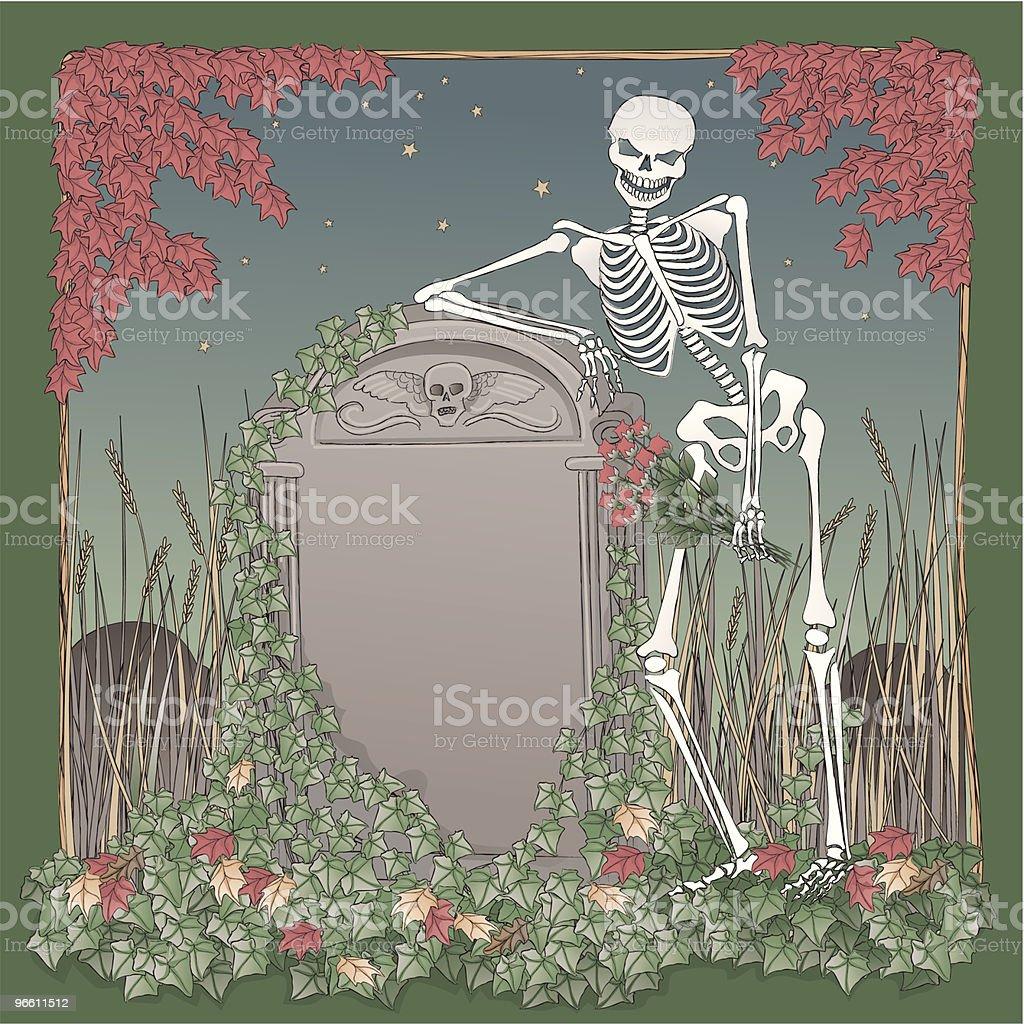 Skeleton на Хэллоуин ночь leaning надгробная. - Векторная графика Акварельная живопись роялти-фри