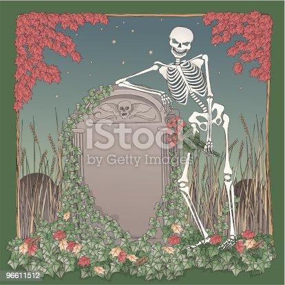 Skeleton on Halloween night leaning gravestone.
