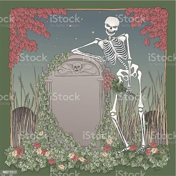 Skeleton На Хэллоуин Ночь Leaning Надгробная — стоковая векторная графика и другие изображения на тему Акварельная живопись