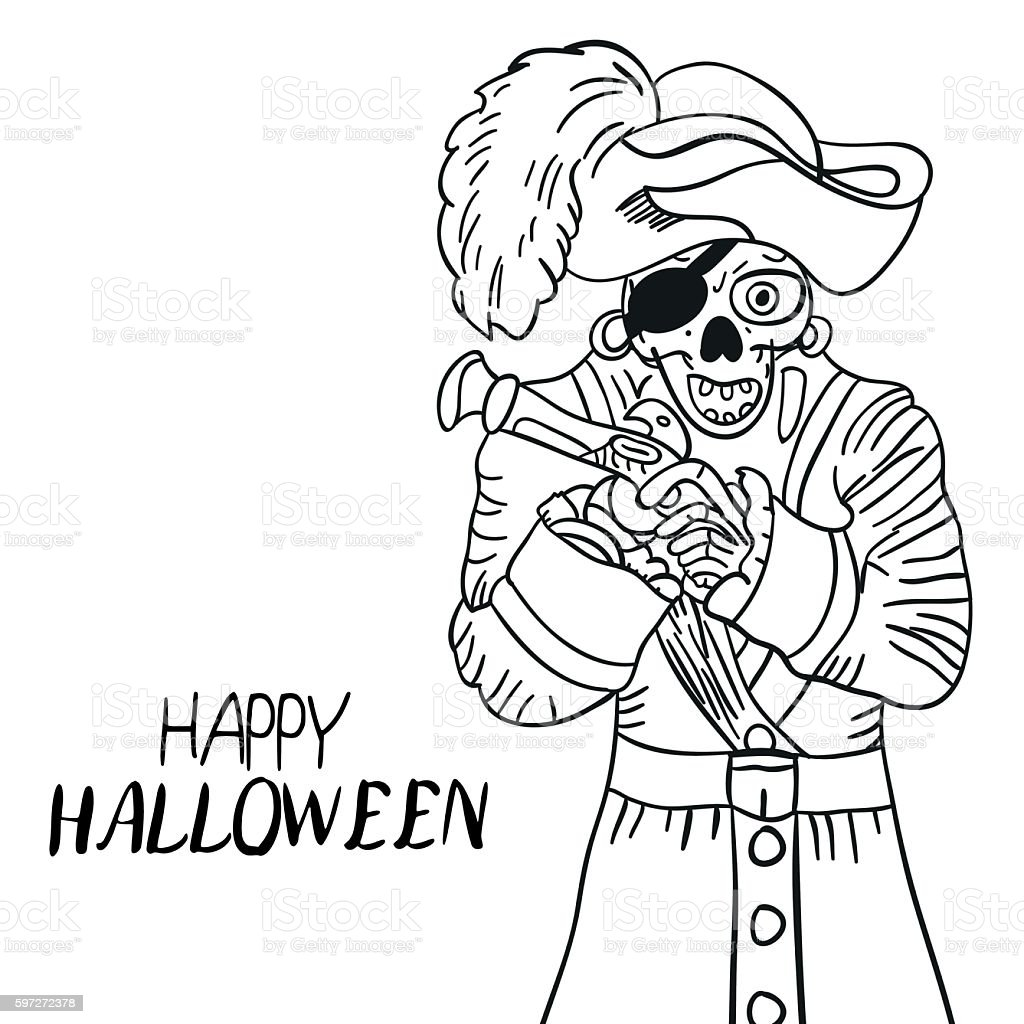 Skeleton pirate. Halloween. Skull and Bones. Sketch. Hand drawing. For skeleton pirate halloween skull and bones sketch hand drawing for – cliparts vectoriels et plus d'images de anatomie libre de droits