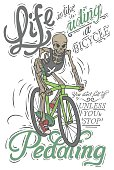 A hipster skeleton riding a fast green bike.