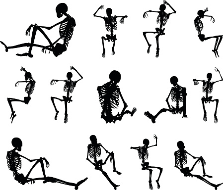 skeleton silhouette in sitting in cage