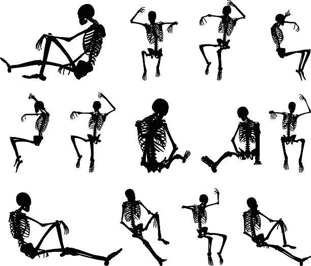 skeleton silhouette in sitting in cage vector art illustration