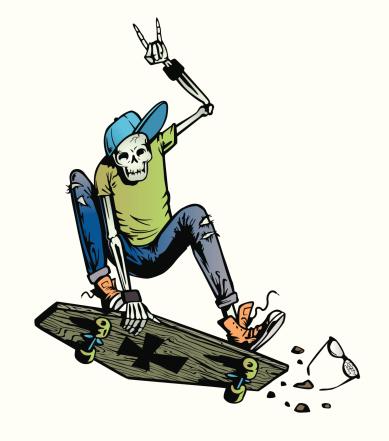 Skeleton Skater on a coffin skateboard