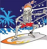 skeleton surfer on summer sea  background