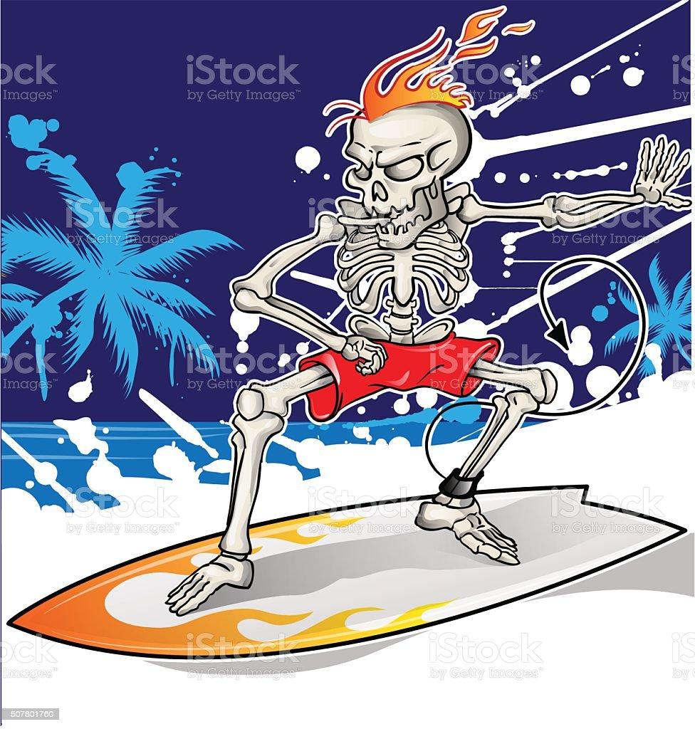 skeleton surfer on sea  background vector art illustration