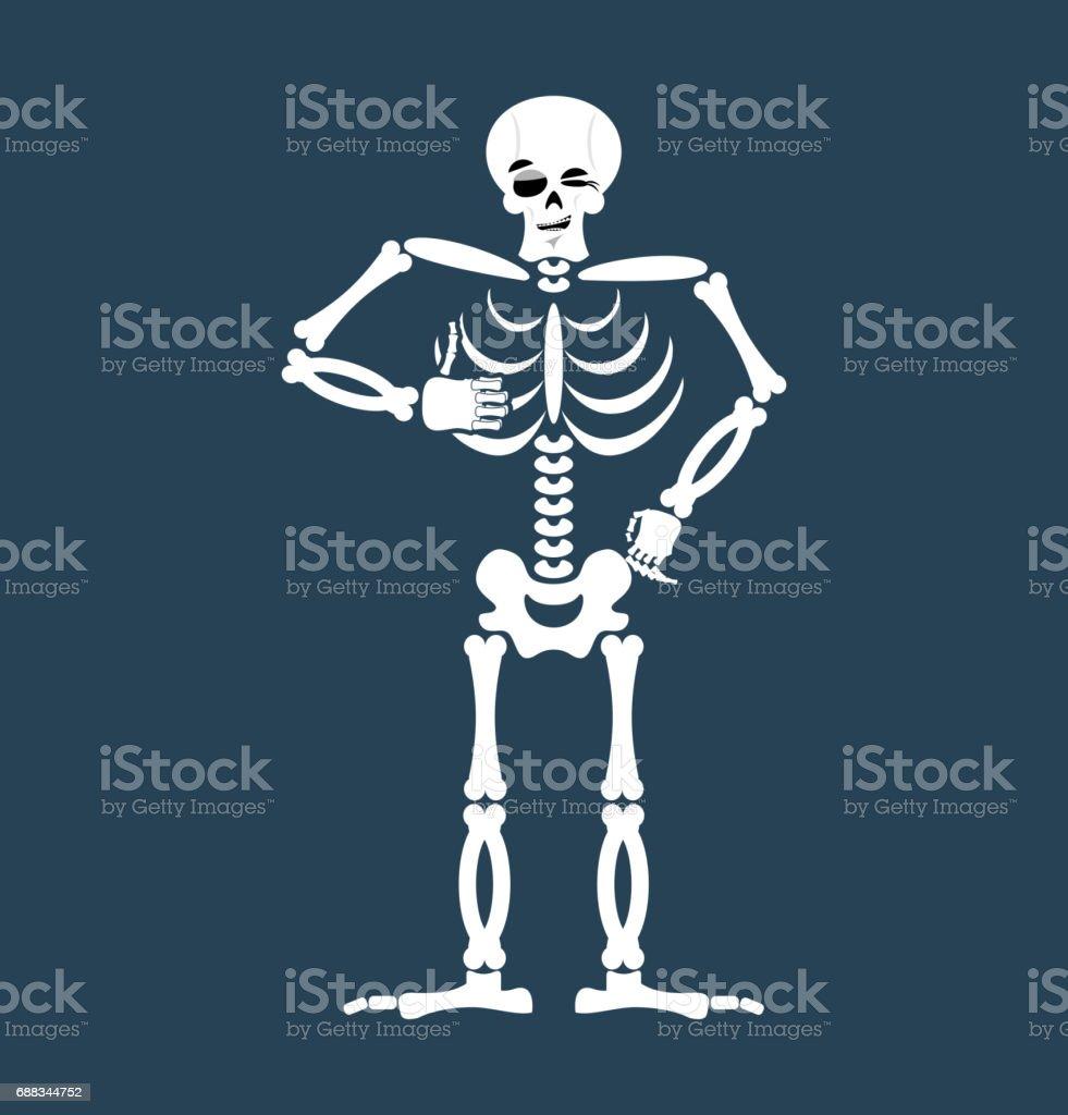 Esqueleto Pulgar Arriba Emoji Del Cráneo Nos Guiña Un Ojo Aislado De ...
