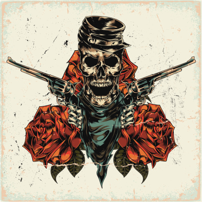 Skeleton with two revolvers on abstract background