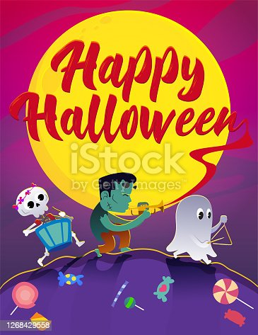 istock A skeleton with Victor Frankenstein's monster and a ghost walks the night of Halloween in celebration. 1268429558