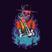Stylish neon skeleton on fire. Vector illustration. Design for stickers or t-shirt