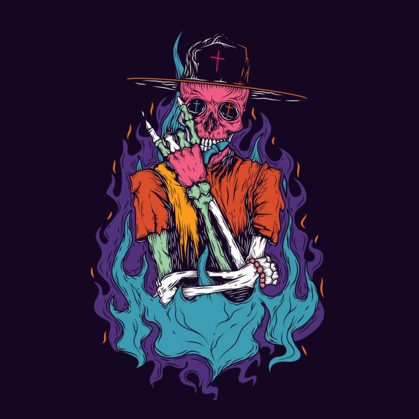 stockillustraties, clipart, cartoons en iconen met skeleton_neon - street style
