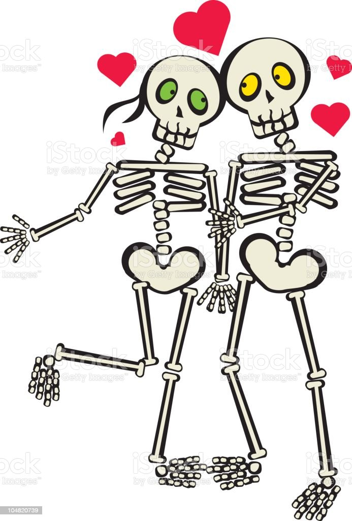 skeletons love royalty-free stock vector art