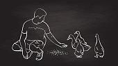 Skeptical Ducks Hand Feeding