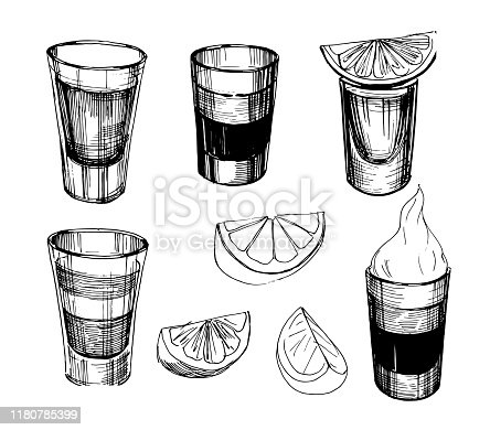 Sketch alcohol drinks shots. Hand drawn illustration converted to vector